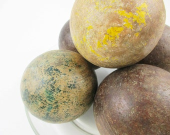 Five Primitive Wood Balls - Out-of-round Balls - Mix 'em Up - Croquet Balls - Solids With Hints of Yellow and Green - Wood Balls