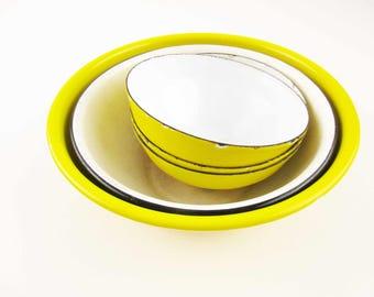 Five Bright, Sunshine Yellow Enamel Bowls - Yellow With Black - Yellow With Yellow - No Rim Small Bowls - Vintage Use - Farmhouse Chic