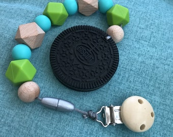 Cookie Teether Oreo Cookie Teething Clip Toy Wood Silicone Sensory Teether