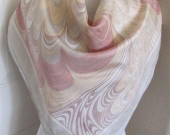 "Peach Gray Swirls Soft Silk Scarf 30"" Square - Affordable Scarves!!!"
