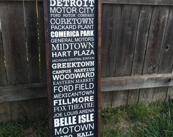 Detroit subway art wood sign