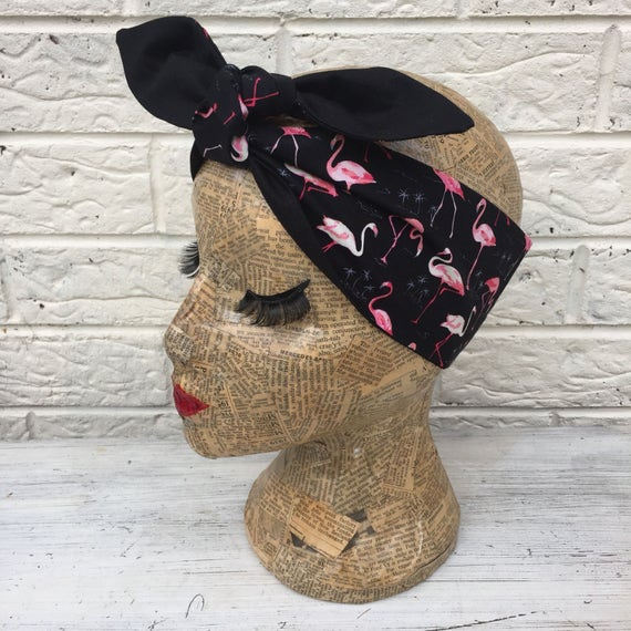 Pink Flamingo headacarf Rockabilly Pinup