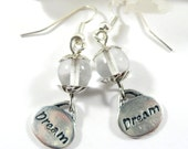 Clear Glass Dream Earrings, Charm Earrings, Boho Chic Silver Earrings, Dream Jewelry, Glass Beaded Earrings Gift for Her, Gifts under 15