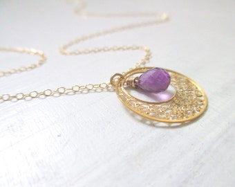 Amethyst necklace, gold necklace, filigree necklace, February birthstone, natural amethyst gemstone necklace for woman, gift for her
