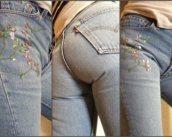 Hand Embroidered Jeans - Sequin Cherry Blossom Embellished LEVI'S 501s - US 4 6 28x32