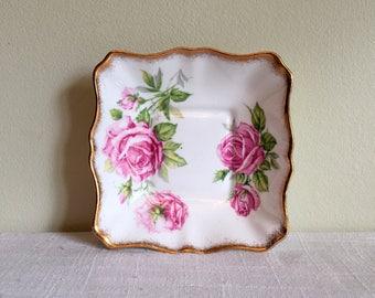 Royal Standard Dish/Orleans Rose Nut Dish/Bone China Nut Dish/Made in England/Rose Theme Pin Dish/4.75 in Square Dish/Pink Roses Pin Dish