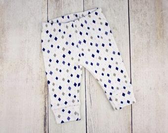 Organic Baby Leggings - Navy, Gray, Pink Diamonds - Organic Cotton Leggings - Baby Girl Pants - Diamonds Designer Print - READY TO SHIP!
