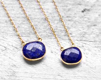 LAPIS PURE SURA necklace with dark blue Lapis Lazuli | gold