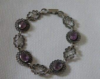 Beautiful Sterling Silver Amethyst Bracelet - marked