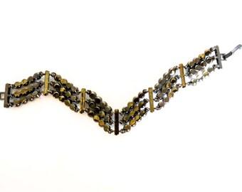 Vintage Rhinestone & Hematite Bracelet   7 1/2 Inch