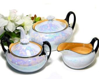 Art Deco Czech Lusterware Teapot Creamer and Sugar Blue-Gray and Marigold