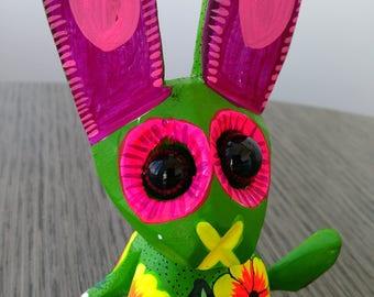 Rabbit alebrije from Oaxaca, Mexico- Oaxacan folk art - Mexican wood carving