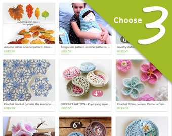 Crochet pattern discount package, Choose any 3 crochet patterns. last minute gift ideas, Gift for her, digital file gift.