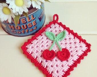 sweet pink cherries crocheted pot holder