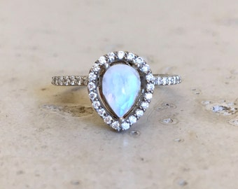 Halo Moonstone Engagement Ring- Rose Gold Moonstone Engagement Ring- Pear Shape Moonstone Engagement Ring- Rainbow Moonstone Promise Ring