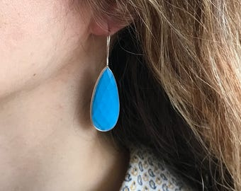 Silver Turquoise Earring- Blue Turquoise Earring- Blue Statement Earring- Pear Shape Earring- Blue Statement Earring- Drop Dangle Earring