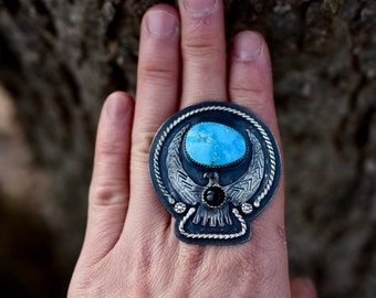 Artisan Thunderbird Eagle With Blue Ridge Turquoise And Onyx Statement Ring or Necklace