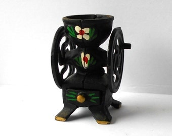 Vintage Miniature Coffee Grinder with Drawer Cast Iron Hand Painted Folk Art design