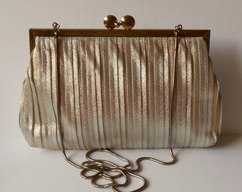 Vintage Pleated Evening Bag Henry Birks Formal Purse Clutch Gold Snake Chain Hong Kong