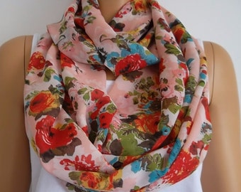 Christmas Gift Holiday Gift Scarf, Floral loop scarf chiffon scarf fashion accessories gift for her
