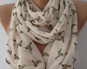 Scarf Christmas Gift Holiday Gift Birds scarf Loop scarf chiffon scarf fashion accessories for her