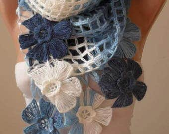Mothers Day Gift Winter Knitting Blue Scarf Gift for Women Crochet Scarf Gift for Her Autumn Winter Gift Ideas Women Accessories Mothers Day
