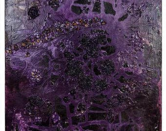 "Mixed Media Acrylic Painting Original Art - Purple 24"" x 36"""
