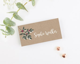 Winter Blossom & Berries Folded Place Cards