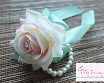 Wrist Corsage, Elegant Blush Pink Rose corsage, Pink and Mint Corsage