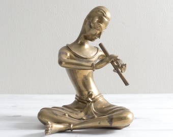 Vintage Thai Brass Musician Flute Player