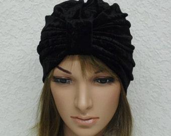 Black turban, velvet beanie hat, black velvet turban hat, retro style turbans, black women's hat, stretchy turban, vintage style turban