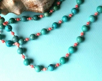 Irresistable  turquoise ,coral and sterling silver long necklace