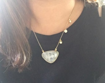 Rainbow Moonstone, rolo chain, large Gemstone necklace, star and moon necklace, gold necklace, muse411, boho chic