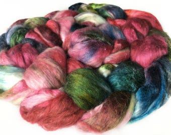 Superfine Merino Wool And Mulberry Silk 50/50 Blend Brick Form Destash Hand Dyed Spinning Felting Fiber 66 gm 2,3 oz