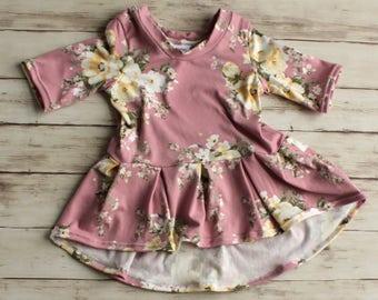 Girl Floral Shirt, Flower Girl Dress, Easter Dress, Girl Peplum Top, Girl Spring Dress, Baby Dress, Maxi Dress, Hi low Top, Toddler Dress