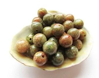 Natural Unakite Beads 8mm Round Natural Stone Beads Gemstone Beads Jewelry Supplies (10)