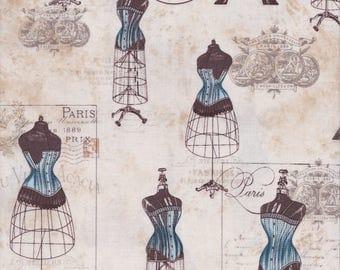 Robert Kaufman Fabrics, City of Lights, Dress Forms, Eiffel Tower, Script, Dusty Blue
