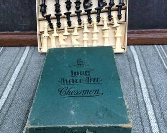 Drueke's American-Made Chessmen Game Pieces With Original Box