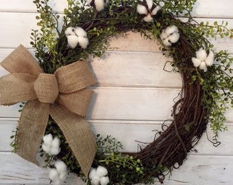 Farmhouse Cotton Wreath--Farmhouse Decor--Cotton Wreath--Fall Wreath--Summer Wreath--Spring Wreath