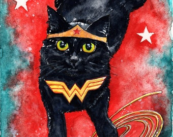 Wonder Kitten: Fine Art Watercolour Black Cat Print