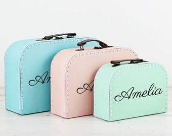 Personalised Pastle Suitcase Storage Box Trio - Display Decor Craft Decoration Prop P109