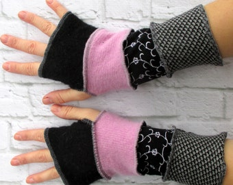Boho Wrist Warmers - Hippie Gloves - Creative Upcycled Clothing - Wrist Warmers - Graduation Present - Birthday Gift for Teenage Girls