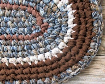Home Decor - Crochet Rag Rug - Oval Rug for Bedside - Plaid Denim Blue - Upcycled Recycled - Eco Friendly House - Chocolate Brown Denim Blue