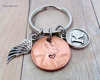 Angel Wing Charm Penny Personalized Initial Keychain, Customized Memorial Penny Keyring,