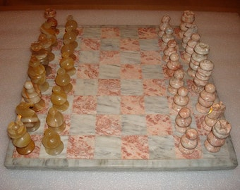 Vintage Hand Carved Genuine Pink And Grey Marble Chess Set With Board