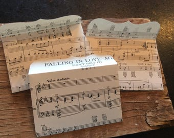 Handmade vintage sheet music envelopes set of 12