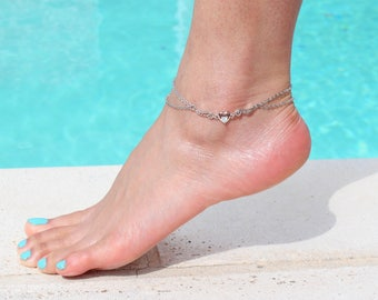 Double chains Swarovski Angel Wings Anklet