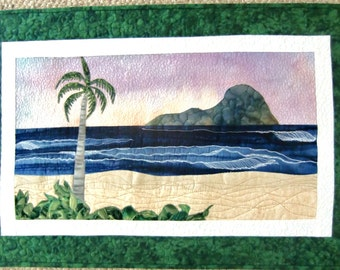 Art Quilt, Tropical Beach, Landscape Quilt, Coastal Decor, Ocean Wall Art, Wall Hanging, Palm Trees, Textile Fiber Art, OOAK, Handmade in HI