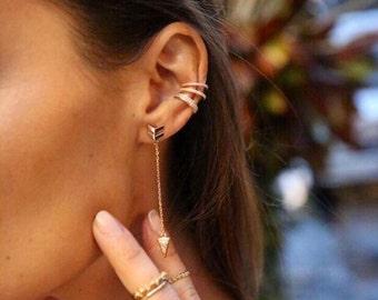 Rose gold Diamond  Ear cuff climber
