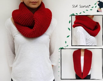 Gift Red Scarf, Wrap Gift Knit, Loop Cowl Knit, Christmas 2016, Hand-Knit Gift Scarf, Cowl Warm Wool, Present Infinity, Infinity Gift Snood